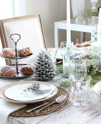 morning table setting decorated with winter decor modern farmhouse decorations