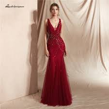 Luxury Designer Gowns Us 269 99 Lakshmigown Luxury Deep V Evening Dresses 2020 New Designer Beige Mermaid Evening Party Gowns Burgundy Formal Prom Dresses 2020 On