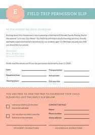 Field Trip Permission Letter Teal Peach Cute Preschool Field Trip Permission Slip Letter