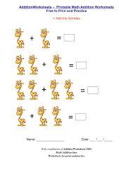 Math Worksheets Kindergarten Basic Addition For Preschoolers Match ...