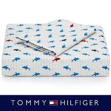 tommy hilfiger 200 tc cotton shark queen sheet set