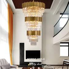 glod large crystal pendant lights villa living room staircase long led lamp restaurant hotel office building luxury crystal pendnat lights light ceiling