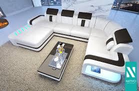 Nativo Space Xl Wohnlandschaft Leder Mix Mit Led Beleuchtung Couch Garnitur