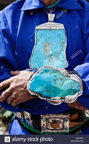 santa fe new mexico united states indian market hopi indian with turquoise jewelry