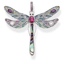thomas sabosterling silver large multistone dragonfly pendant pe827 998 7