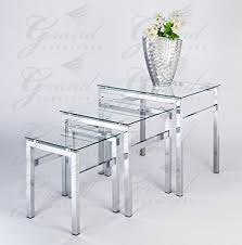 glass living room furniture. Glass Nest Of Tables 3 Coffee Side Lamp Table Set Living Room Furniture R