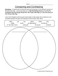 Venn Diagram Character Comparison Comparing And Contrasting Worksheet Venn Diagram Have Fun Teaching