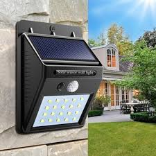 <b>solar power 20 led</b> pir motion sensor wall light waterproof outdoor ...