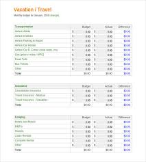 Holiday Form Template Excel Vacation Budget Template 9 Free Word ...