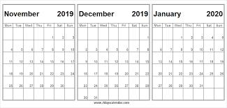 November December 2019 January 2020 Calendar Month To Print