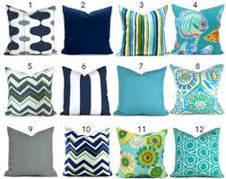 Aqua Seahorse Pillow Cover Blue Outdoor Decorative Pillow