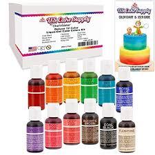 12 Food Color Us Cake Supply By Chefmaster Liqua Gel Paste Cake Food Coloring Set The 12 Most Popular Colors In 0 75 Fl Oz 20ml Bottles