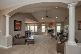 Traditional Living Room with Custom Endura-Series Columns, Maxwell Leather  Chair, Cathedral ceiling
