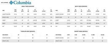 Columbia Sportswear Size Chart Best Picture Of Chart