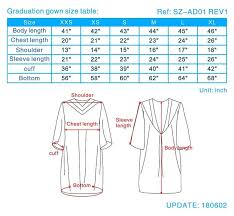 Cap And Gown Measurement Chart Graduation Gown Size Guide College Graduation Gown Sizes