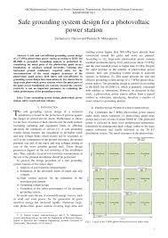 Earth Mat Design Calculation Pdf Pdf Safe Grounding System Design For A Photovoltaic Power