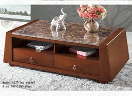 wood coffee table set tempered glass