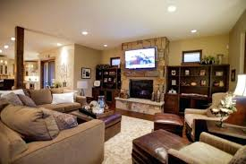 traditional living room with tv. Accent Tv Wall Ideas Traditional Living Room Black Leather Cushion White Ceramics Floor Tile Red Behind With A