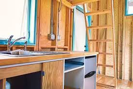 tiny house loft ladder. Bunk-box-tiny-house-kitchen-and-loft-ladder Tiny House Loft Ladder
