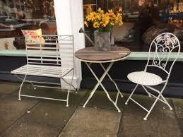 distressed metal furniture. grey wash metal garden bench slatted and distressed round table u0026 scrolls folding furniture i