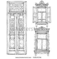 vintage window drawing. collection of hand drawn vintage door and windows. vector illustration window drawing w