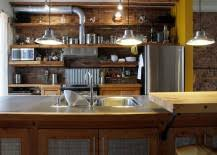 Open shelving and lots of it; this is another great way of bringing  industrial beauty to your kitchen while expanding the available shelf space.