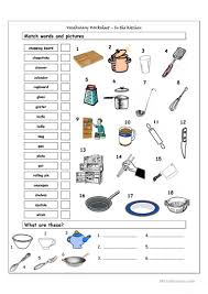 voary matching worksheet in the kitchen