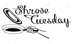 フライパンでパンケーキ芸術的な絵には記号告解の火曜日が書き込まれますベクター クリップ