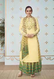 Pakistani Designer Palazzo Pants Beige Embroidered Digital Print Pakistani Suits