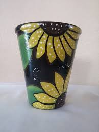hand painted pot clay pot sunflower pot by brilliantexpressions