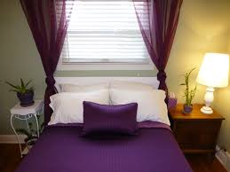 fashionable purple themes teenage girls bedroom decor with purple curtain window and cover sheet as inspiring small space purple bedrooms ideas