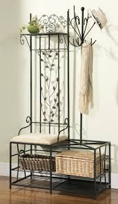 Metal Entryway Storage Bench With Coat Rack Interior Simple Black Finish Metal Entryway Bench Five Double Coat 13