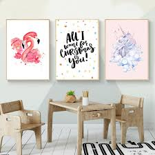 kawaii flamingo unicorn nursery canvas poster canvas prints wall art painting wall pictures for children living room home decor in painting calligraphy  on childrens canvas wall art with kawaii flamingo unicorn nursery canvas poster canvas prints wall art