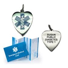 heart shaped medical id necklace and pendant