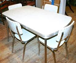 retro dinette sets vintage kitchen set table 4 chair silver gray chrome diner chairs