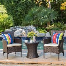 3 piece Outdoor Wicker Chat Set with Cushions by Christopher