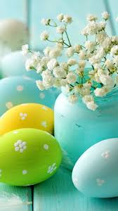 white flowers and colorful eggs best