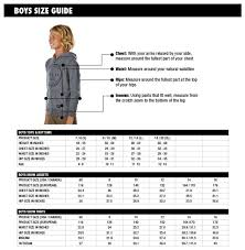 Oneill Kids Size Chart Size Charts Oneill Canada