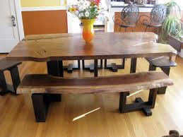 Black Stained Wooden Based Dining Table With Varnished Eased Edge