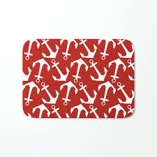 anchor bath mat maritime nautical red and white anchor pattern anchors bath mat navy anchor bath