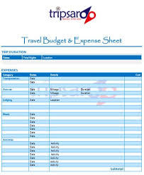 Budget Expense Sheet Travel Budget Expense Sheet