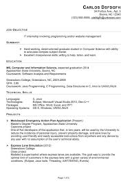 Entracing Intern Resume Template Functional Sample For An It