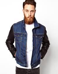asos denim jacket with leather look sleeves blue