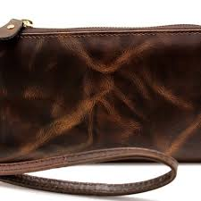 women brown crunch leather wrist let wallet purse