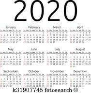 Semplice Vettore Calendario 2020 Clipart K26539051 Fotosearch
