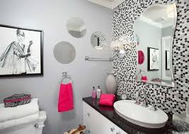 small bathroom wall mirrors. Contemporary Small Bathroom With Grey Walls And Wall Mirrors Also Pink  Accents - Great Color Schemes | Wearefound Home Design Small Bathroom Wall Mirrors .