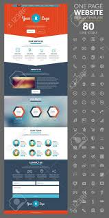 One Page Website Template With Icon Set For Different Websites
