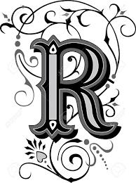 美しく装飾された英語アルファベット手紙 R