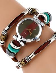 Women's Bracelet Watch Wrist Watch Quartz Wrap <b>Genuine Leather</b> ...