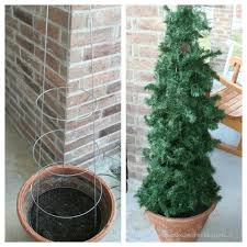 Tomato Cage Christmas Tree Leftover Garland Lights